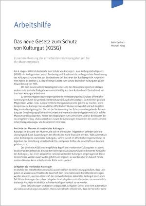 Arbeitshilfe zum neuen Gesetz zum Schutz von Kulturgut (KGSG ...
